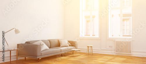 Panorama von Wohnzimmer im Sommer