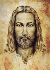 Fototapeta na wymiar pencils drawing of Jesus on vintage paper. with ornament on clothing. Old sepia structure paper. Eye contact. Spiritual concept.