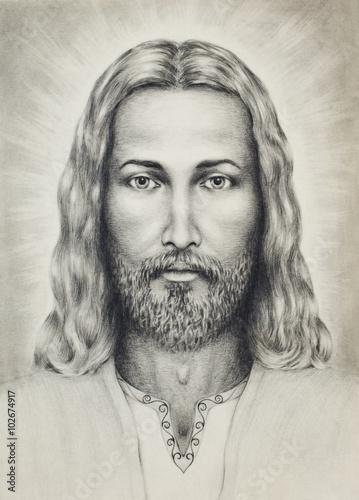 olowki-rysunek-jezusa-na-wzor-papieru-z-ornamentem-na-odziezy-kontakt-wzro