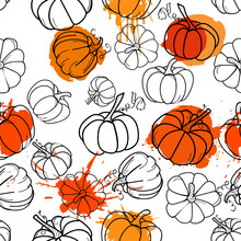 Pumpkin Pattern Fresh Watercolor