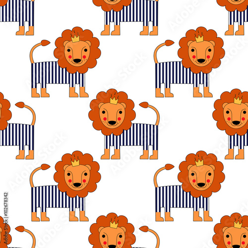 cartoon-baby-lion-seamless-pattern-cute-animal-vector-background-child-drawing-style-lion-king-illustration-french-style-dressed-lion-with-crown-and-striped-frock