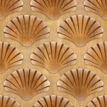 Imaginary Decorative Seashells - Interior Design Wallpaper - Seamless Background