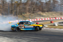 Sport Car Burnout On The Track