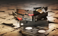 Sepia Antique Colour Abandoned Pile Of Old Useless Mini DV (vide