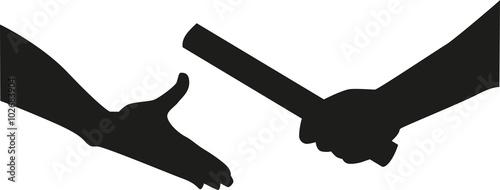 Fototapeta Relay hands passing the baton obraz