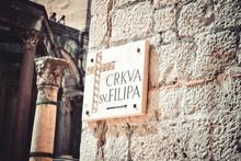 Pointer To The Church Of St. Philip Neri, Split, Croatia