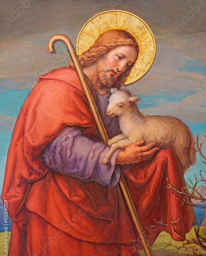 Vienna - Fresco of Jesus as good shepherd in Carmelites church - 102690109