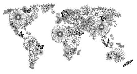 Fototapeta Kwiaty Floral world map for coloring books in black and white
