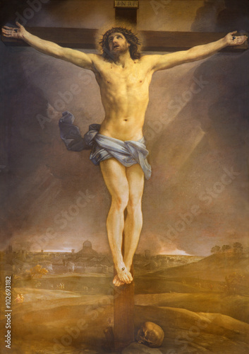 Rome - altarpiece of Crucifixion in church Chiesa di San Lorenzo in Lucina Canvas Print