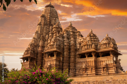 Wall Murals Place of worship Sunset over Kandariya Mahadeva Temple