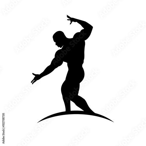 Fotografie, Obraz  bodybuilder posing, icon, vector illustration
