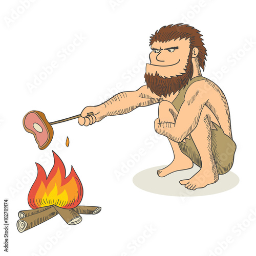 Cartoon illustration of a caveman cooking meat on fire Poster