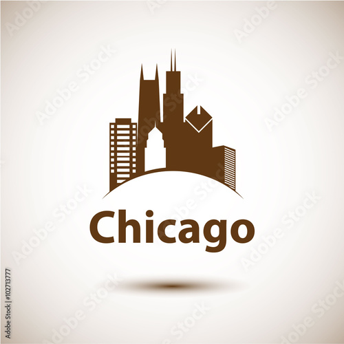 Photo  Chicago USA skyline silhouette, black and white design