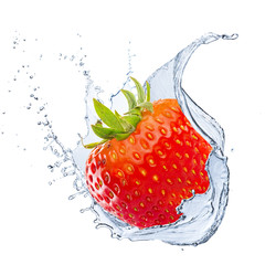 Fototapeta Water Splash With Strawberry