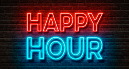 Obraz na Szkle Neon sign on a brick wall - Happy Hour