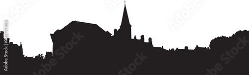Fototapeta Bruges old town skyline monochrome silhouette obraz