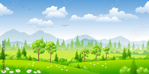 Poster Lime groen Panorama summer landscape with trees