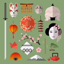 Vector Set Of Icons With Japan...