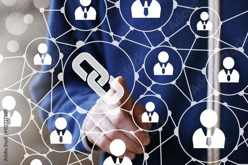 Stampa su Tela  Businessman hand press button web link icon