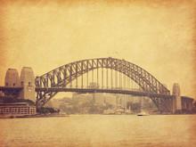 Sydney Harbour Bridge In Retro Style, Australia.  Added Paper Texture. Toned Image