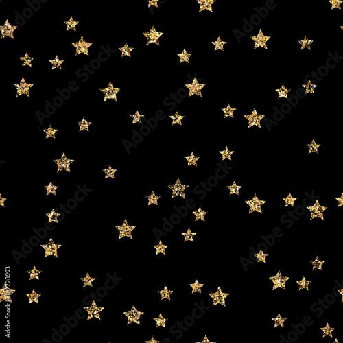 Stars ornament gold seamless pattern. Modern foil stars stylish