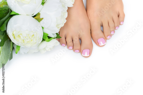 Tuinposter Pedicure Woman feet with french pedicure