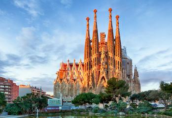 BARCELONA, HISZPANIA - 10 LUTY: La Sagrada Familia - wrażenie