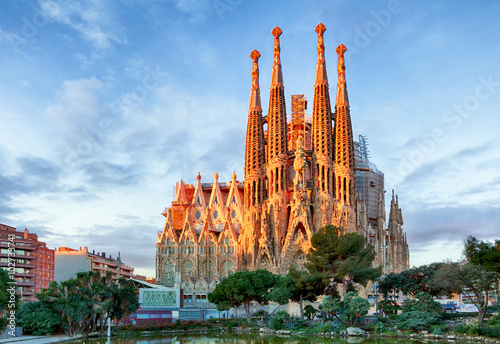 Photo Stands Barcelona BARCELONA, SPAIN - FEBRUARY 10: La Sagrada Familia - the impress