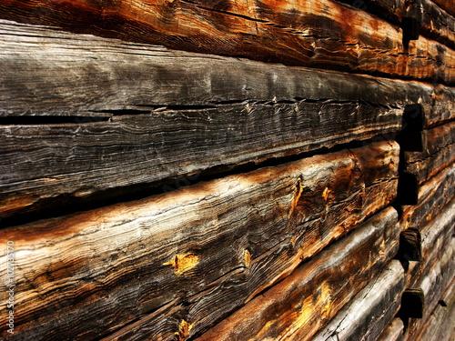 Fototapeta Ściana z belek drewnianych obraz