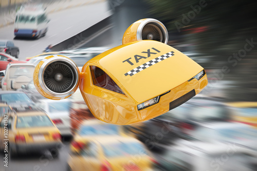 Fotografie, Obraz  High-speed taxicab flying over traffic jams