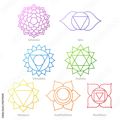 Photo  Colorful chakras symbols icons set.