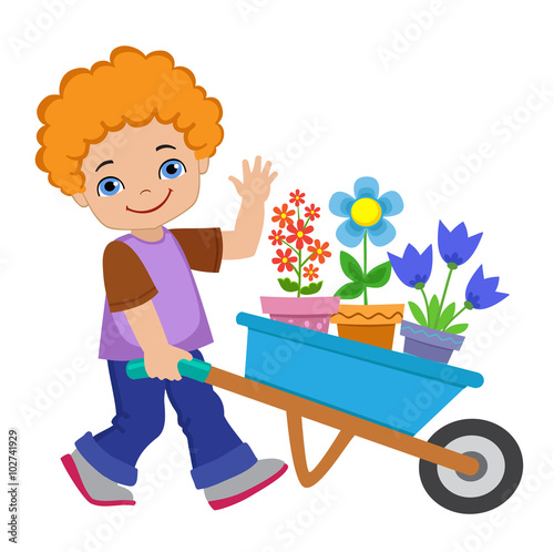 In de dag Regenboog Boy planting flowers and working in the garden.Vector illustration isolated on white background.