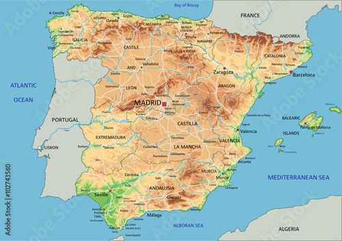 Map Of Spain Detailed.High Detailed Spain Physical Map With Labeling Buy This Stock