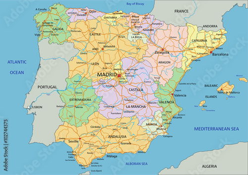 Photo  Spain - Highly detailed editable political map with labeling.