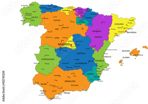 Labeled Map Of Spain.Colorful Spain Political Map With Clearly Labeled Separated Layers