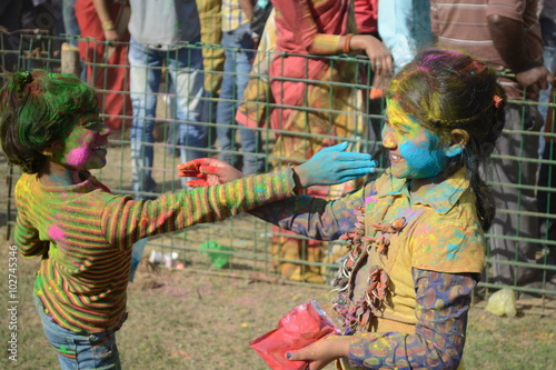 Spoed Foto op Canvas Graffiti collage Shantiniketan, West Bengal, India- March 5, color festival of India on 5th March, 2015. Child are enjoying Holi at Shantiniketan, the abode of Rabindranath Tagore.