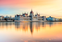 Budapest Parliament At Sunset,...