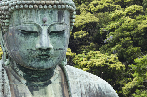 The Great Buddha (Daibutsu) on the grounds of Kotokuin Temple in Canvas Print