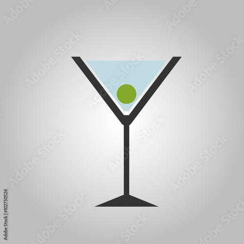 Cocktail Abstrakt mit grüner Olive Poster