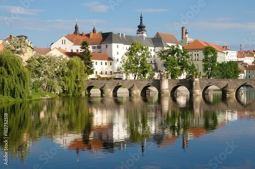 Medieval Town Pisek and historic stone bridge over  river Otava in the Southern Tapéta, Fotótapéta