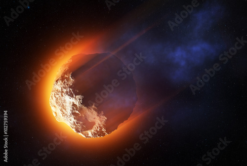 Burning asteroid entering the atmoshere Wallpaper Mural