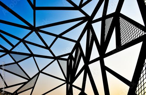 metal line perspective view Fototapeta