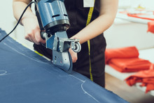 Cutting Textile On A Sewing Manufacture