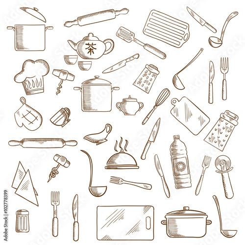 Fotografia  Kitchen utensil and kitchenware icons