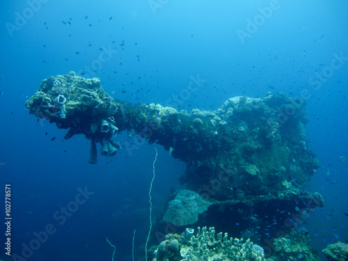 Foto op Canvas Schipbreuk The gun in the front of shipwreck from the world war 2, Pacific Ocean