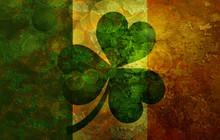 Ireland Flag With Shamrock Gru...