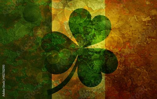 Fotografie, Obraz  Ireland Flag with Shamrock Grunge Background Illustration