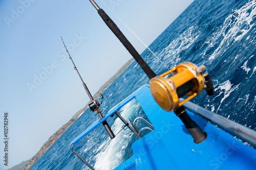 Printed kitchen splashbacks Fishing Trolling fishing with motor boat in the Andaman Sea