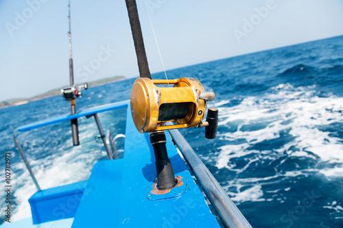 Printed kitchen splashbacks Fishing Trolling fishing with motor boat in the tropical sea