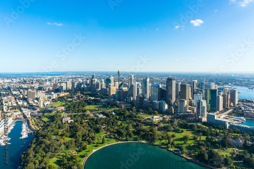 Staande foto Sydney Aerial view on Sydney CBD and Royal Botanic Gardens